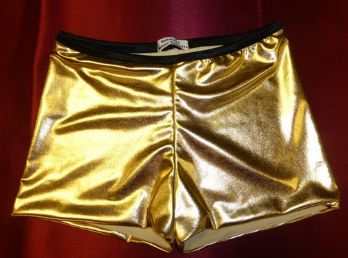Women's Vintage High Waisted Pin Up Hot Pants, gold