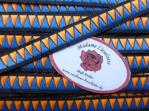 Jacquardborte  schwarz-blau-orange